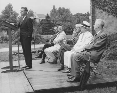 Ground breaking of the Annex to M. I. King Library in January of 1961. Speaking is President Frank G. Dickey. Left to right: Walter Hillenmeyer (Board of Trustees), three unknowns, and former President Herman Lee Donovan. Received September 8, 1961 from Public Relations