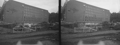 Excavation for new wing of M. I. King Library. Received in September of 1961 from Public Relations
