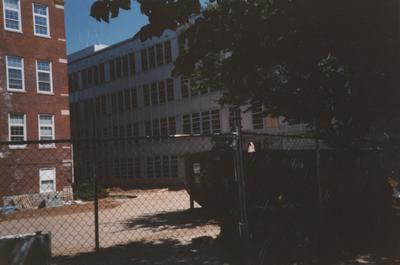 Construction and remodeling of M. I. King Library. Photo taken by Jane Stanger and donated by Frank Stanger