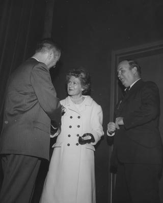 Frank Dickey, Mr. and Mrs. Donald F. Hyde, attending the dedication at Guignol Theater
