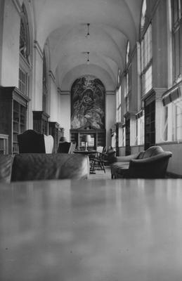 View of one end of former Browsing Room before the 1963 addition to King Library; shows WPA mural on west wall