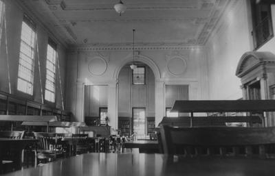 Reference Room, from south Breckinridge Room; second from of King Library, decorative ceilings and walls