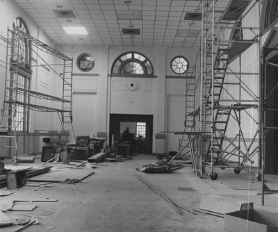 As the result of adding the central air conditioning to the building, the renovation of the Great Hall in King Library covered the raised ceiling and skylight with a drop ceiling. Transferred March 16, 1964 from Public Relations to University Archives