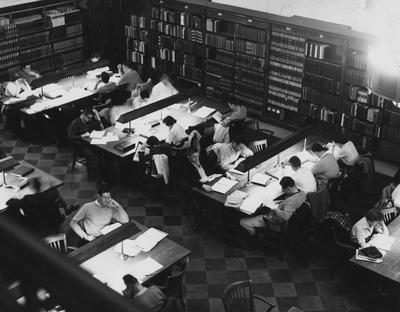 Students studying in the Breckinridge Room of King Library (overhead view)