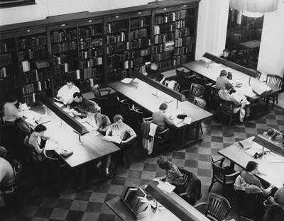 Overhead view of the Reading Room in King Library