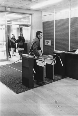 Interior entrance of the King Library. This image appears first on page 130 of the 1969