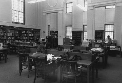 Business Library Reading Room (in former Reference Room); right, rear: (standing) Paul Thompson
