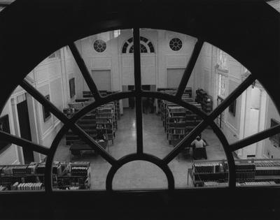 An image of the Great Hall, located on the fourth floor of the King Library, taken from the fourth floor