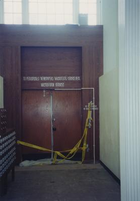 Door to cross bridge to Periodicals is closed during the bridge removal