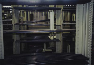Shelving inside core stacks of King Library