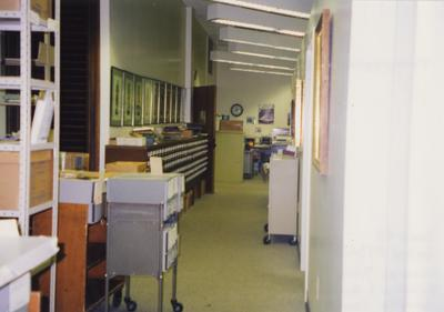 A color photo of room 110, the Special Collections Department, after the renovation. Photographer: Terry Warth