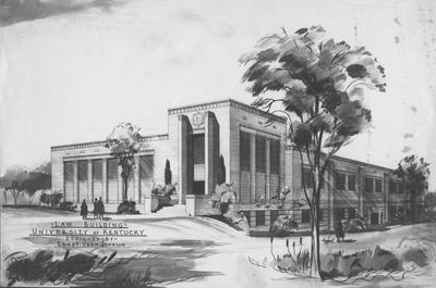 A sketch of the Law Building, designed by Ernst Vern Johnson