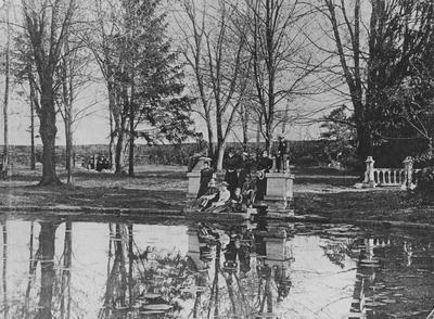 Unidentified students are relaxing at Maxwell Spring
