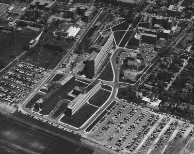 Aerial view of Medical Center and UK campus. Photographer: Ohio State University