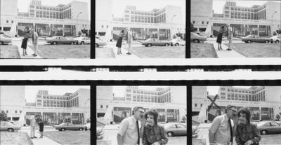 Proof sheet- nine images of an unidentified couple in front of the Medical Center, used as part of the Blue Plan promotion