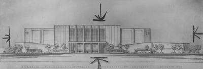 Architectural drawing of Memorial Fieldhouse- Auditorium