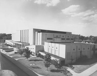 Memorial Coliseum, aerial view. Photographer: Mack Hughes Studio