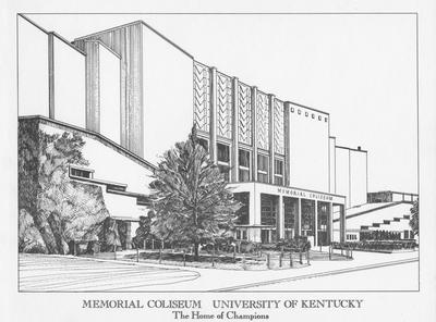 A sketch of Memorial Coliseum- The Home of Champions