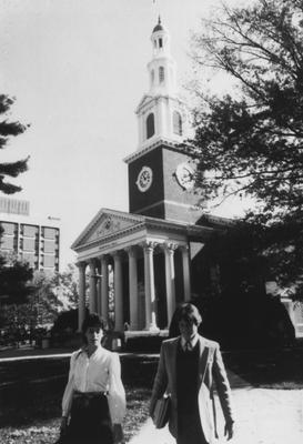 Two unidentified students walking near Memorial Hall