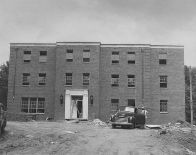 Construction of an unidentified building. Received August 9, 1957 from Public Relations