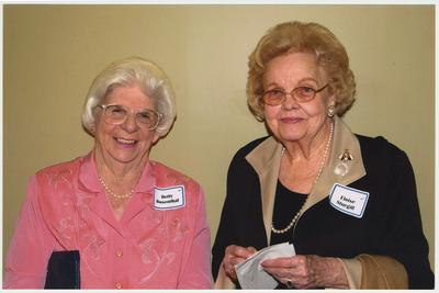 Betty Rosenthal and Eloise Sturgill are at a ceremony for the reopening of the Main Building
