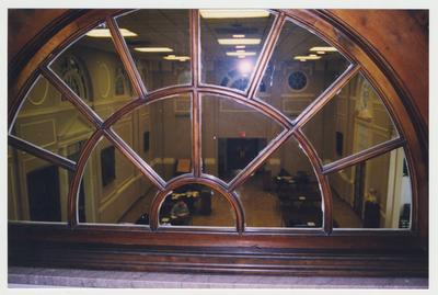 An interior view from a fourth floor window, over looking the great hall of the M. I. King Library Building