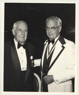 Dr. Thomas D. Clark (left) is receiving the Sons of American Revolution Citizenship Medal from Professor John S. Herrick (right) from Western Kentucky University.  The award banquet was in Louisville, KY