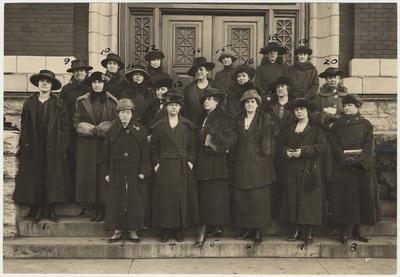 Home Demonstration Agents and Leaders.  1. Mrs. Geo. Hatton, 2. Miss Lulie Logan, 3. Miss Mary Sweeny, 4. Miss Gertrude McCheyne, 5. Mrs. Frances Y. Kline, 6. Mrs. Mary S. Harbison, 7. unidentified, 8. unidentified, 9. Mrs. Beardsley, 10. Mrs. Roxie C. Perkins, 11.Jacqueline Hall, 12. unidentified, 13. Mrs. Jennie Grubbs, 14. Mrs. Octavia E. Evans, 15. Lucy Belle Settle, 16. Dora Sonnenday, 17. Maude Meguiar, 18. Elsie Brunhoff, 19. Artie Ashbrook, 20. Mrs. Margaret D. Jonas