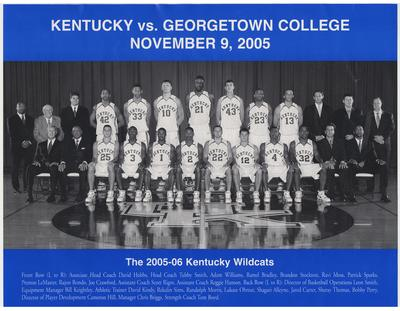 The University of Kentucky 2005 - 2006 team picture.  On the front is the team picture with the heading