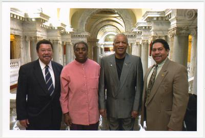From the left:  Kentucky Representative Jesse Crenshaw; Reinette F. Jones, UK Libraries; Cecil R. Madison, Sr. of UK Libraries; and Kentucky Representative Reginald Meeks.  The photograph was taken in the Capitol