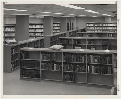 Bookshelves in the Medical Center Library