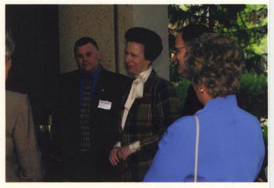 From the left:  An unidentified woman, Officer Greg Baird, The Princess Royal Anne of Great Britain, UK President Lee Todd, and UK First Lady Patsy Todd