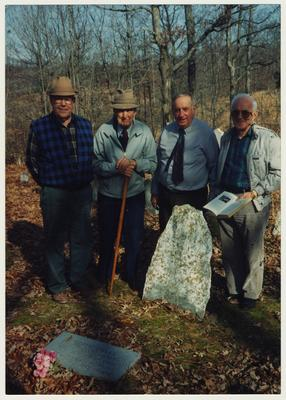 From the left:  Dennie Campbell, Dr. Thomas D. Clark, Stanley Deizarn, and an unidentified man at a grave site.  See pages 156 - 158 of