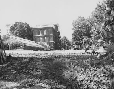 New parking area behind White Hall under construction. Received September 28, 1959 from Public Relations