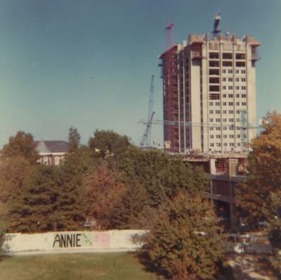 A color photo of the construction of White Hall Classroom Building (right) and Patterson Office Tower (next to White Hall) near Miller Hall (left). This photo was taken from the window in room 518 in King Library on October 16, 1968 and donated by Terry Warth