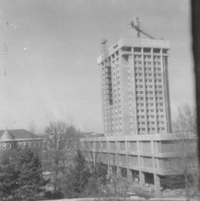Finishing construction of White Hall Classroom Building (right) and Patterson Office Tower (next to White Hall) near the Administration Building (center) and Miller Hall (left). This photo was taken from the window in room 517 in King Library on February 21, 1969 and donated by Terry Warth