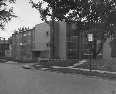 College of Pharmacy building at the corner of Washington Avenue and Gladstone Avenue. Received August 9, 1957 from Public Relations