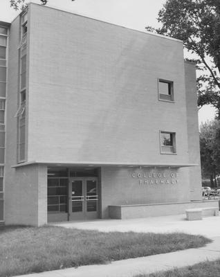 Front entrance to College of Pharmacy building at the corner of Washington Avenue and Gladstone Avenue. Received August 22, 1957 from Public Relations