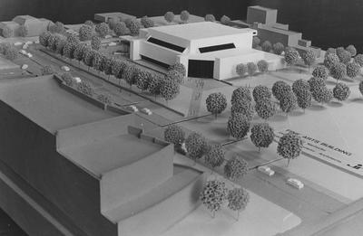 A model of the outside of the Singletary Center for the Arts