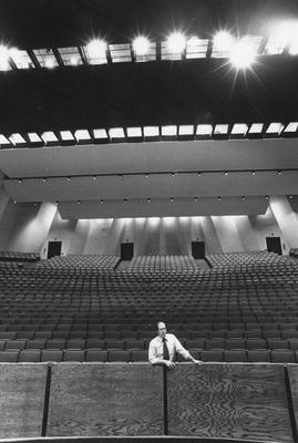 The new UK Center for the Arts has 1,500-seat concert hall. Dr. J. Robert Willis, dean of the College of Fine Arts, stands near the hall's orchestra pit