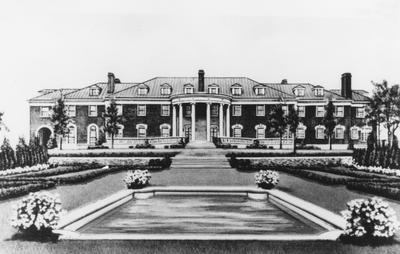 Front view of an architectural drawing of Spindletop Stock Farm