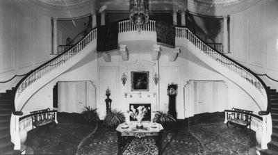 Interior view of main hall in Spindletop Hall