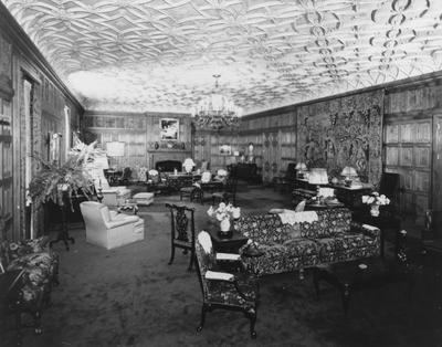 Interior view of a sitting room which since 1978 has been used as a dining room in Spindletop Hall.  During Ms. Yount's residency, the room was used as a ballroom