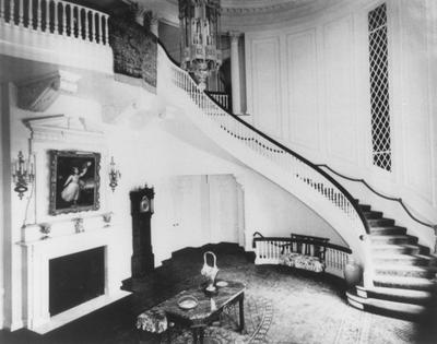 Right half of the staircase in Spindletop Hall