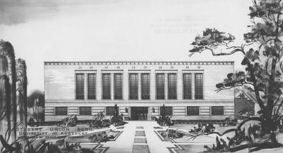 Architectural drawing of the Student Union Building. Designed by Ernest Vern Johnson