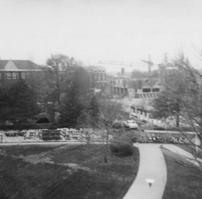 Construction of White Hall Classroom Building (right) and Patterson Office Tower (nest to White Hall), near Miller Hall (left) and Administration Building (in the background). Photo donated by Terry Warth