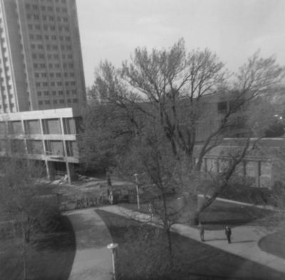 Patterson Office Tower (left), the almost finished White Hall Classroom Building (center) and Lafferty Hall (right). This photo was taken from room 517 of the King Library. Donated by Terry Warth