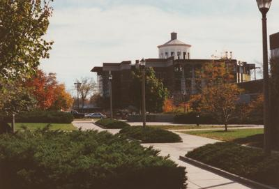 A color photo of the construction of William T. Young Library. Young Library was finished in 1998. Photo taken fall of 1996 by Terry Warth