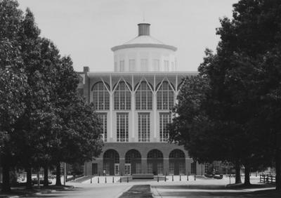 A sepia tone photo of the Young Library from University Drive before it's dedication in 1998. This photo was donated to UARP on May 1, 2003 by Teresa Burgett, Reference Librarian at Young Library