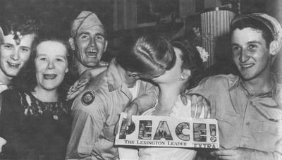 Students celebrate the end of World War II